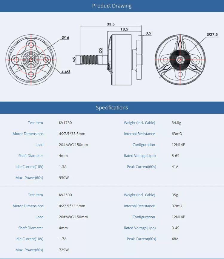 T-Motor HOM 2207.5 - 2500Kv